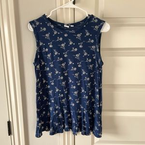 GAP Blue and Cream Floral Peplum Tank Size S Tall